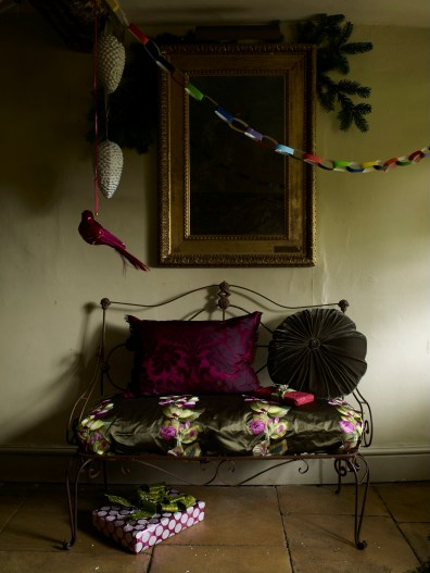Designers Guild/Buckingham Palace silk cushions, Christmas hall