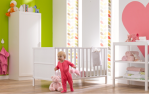 Mothercare Ayr Cot bed/Orla Keily wallpaper