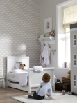Mothercare Chiltern White Toddler Bed/Scion Mr Fox wallpaper