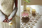 Crochet mits by Erika Knight with Wedding Dress. Photograph: Yuki Sugiura, styling Charis White
