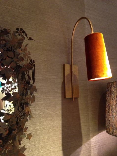 70s interior design trend charis white interiors porta romana lighting at chelsea design harbour now do all their shades in velvets this wall light in chutney velvet would look rather fab in an upmarket mozeypictures Image collections