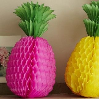 Paper pineapple decorations, Graham and Green