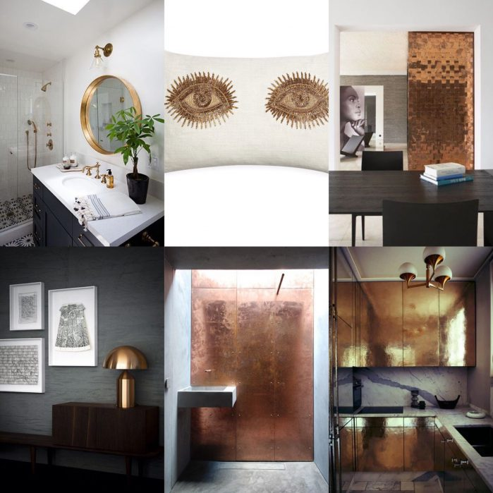 Metallic interiors collage