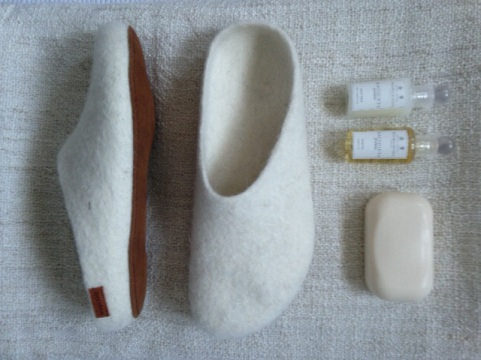 White Fire and Felt Slippers - Bathtime soap - Botanicals blog - Charis White