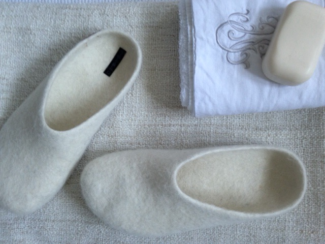 White Fire and Felt slippers with bath towel/soap - Botanicals Blog - Charis White