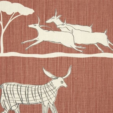 Wild & Free fabric, Terracotta/Charcoal WILD-26-38, Vanessa Arbuthnot - Global Fusion interiors: Charis White Blog