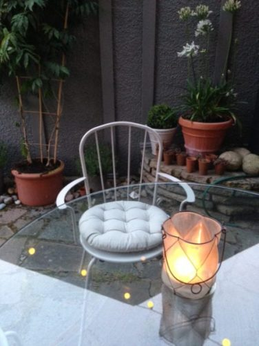B & Q metal garden chair for Outdoor Entertaining blog by Charis White