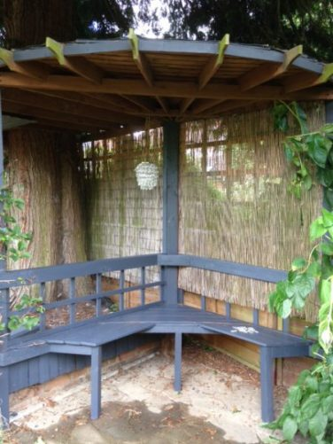 Outdoor bar wooden seating area for Outdoor Entertaining blog painted in Cuprinols Garden Shades by Charis White