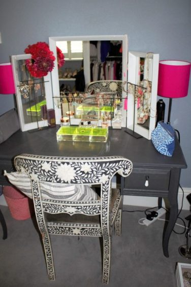 dressing table pink lamp shades. Karen Kennedy of Indigo Rye for Charis White blog