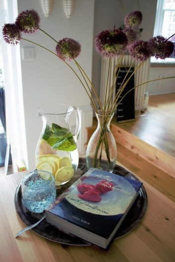 jug and recipe book in Karen Kennedy of Indigo Rye's kitchen for Charis White blog