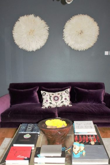 Aubergine velvet sofa in Karen Kennedy of Indigo Rye's home for Charis White blog