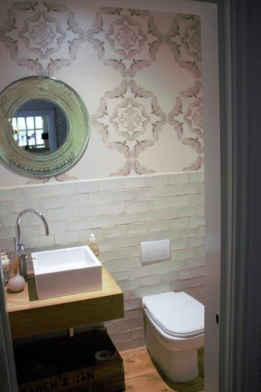 White moth Timorous Beasties wallpaper in Karen Kennedy of Indigo Rye's home for Charis White blog