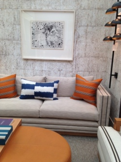 Charlotte James sofa and cushion, Decorex, 2016, Charis White blog