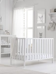 White cot, Mothercare, styled by Charis White, Photography: Tim Burkitt