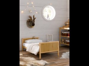 Toddler bed, decorated with Scandinavian style by Charis White, photography: Tim Burkitt