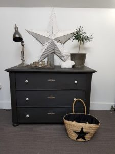 Hungarian dark painted chest of drawers: Vintage Barn Interiors: Charis White blog