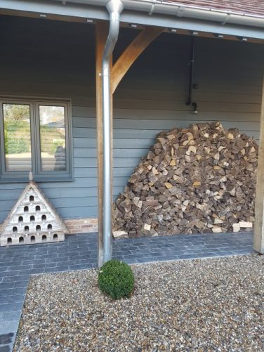 Wood pile at Tracy Head's house, Vintage Barn Interiors