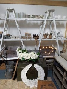 Vintage Barn interiors accessories on ladder shelves