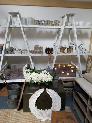 Vintage Barn interiors accessories on ladder shelves