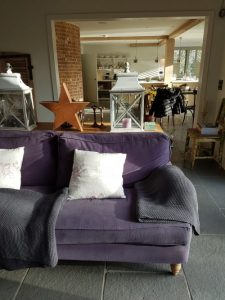 Purple sofa, Tracy Head's house, Vintage Barn Interiors