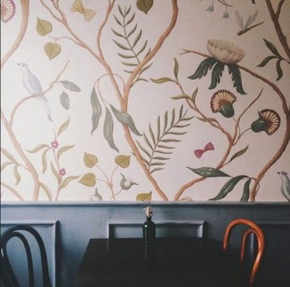 Adam's Eden wallpaper at St Alban Coffee, Charleston, U.S./Remodelista. by Lewis & Wood