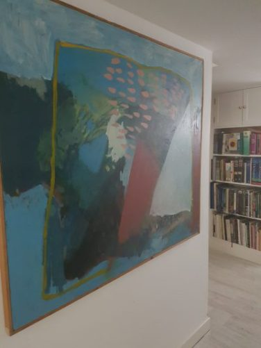John Worton's abstract oil in the hall of his Cornish home. Photo and blog: Charis White