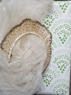Vintage wedding veil and tiara with Sister Parish wallpaper, Tissus D'Helen. Photo/blog: Charis White