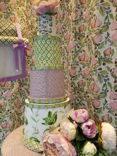 Faux wedding cake for Tissus D'Helene window display. Designed and styled by Charis White