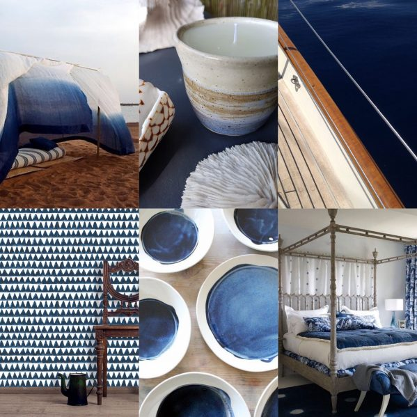 Indigo blue blog collage: Charis White: tent: Dara Artisans/Pinterest; candle, Fiona Adam; boat: Charis White; wallpaper, Walter G Textiles; ceramics: MB Art Studios/Pinterest, bed: William Yeoward;