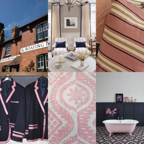 Collage of photos: blazers, Soho House bathroom, sitting room, S B Long Interiors: Charis White blog