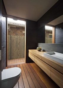 Black bathroom from Plywood House II by Andrew Burges architect. Dark Decorating for Summer: Charis White interiors blog