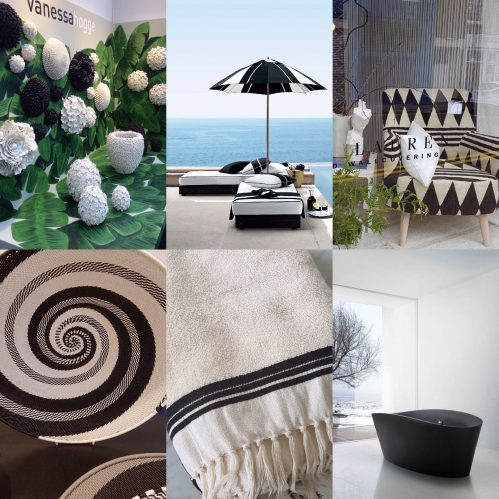Charis White interiors blog collage: Dark Decorating: Vanessa Hogg, Ralph Lauren, Designers Guild, La Redoute, black bath, meandmybentley.tumblr.com