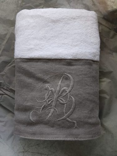 Biggie Best embroidered hand towel: Photo and styling for Marmalade & Slate interiors blog by Charis White stylist
