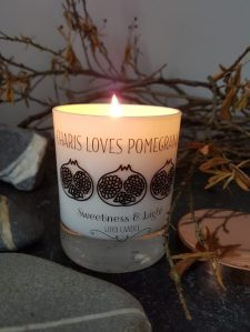 Pomegranate candle by Sweetness & Light styled by Charis for Marmalade and Slate interiors blog by Charis White