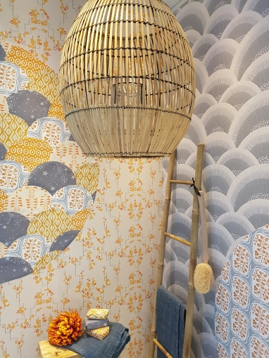Tray covered with Links Ochre wallpaper, Galbraith & Paul; box with Stars by Helene Blanche at Tapet Cafe; wallpaper cuff: Karin at Ornamenta – all at ...