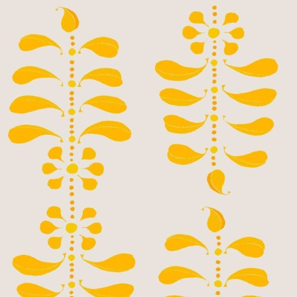 Ladder Leaf Egg on Grey wallpaper design by Anna jeffreys