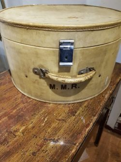 White velum circular travel case at Gear Antiques: Styling with Antiques on Charis White blog