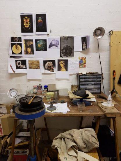 Nigel Bish's inspiration wall at Jelly. Charis White interiors blog