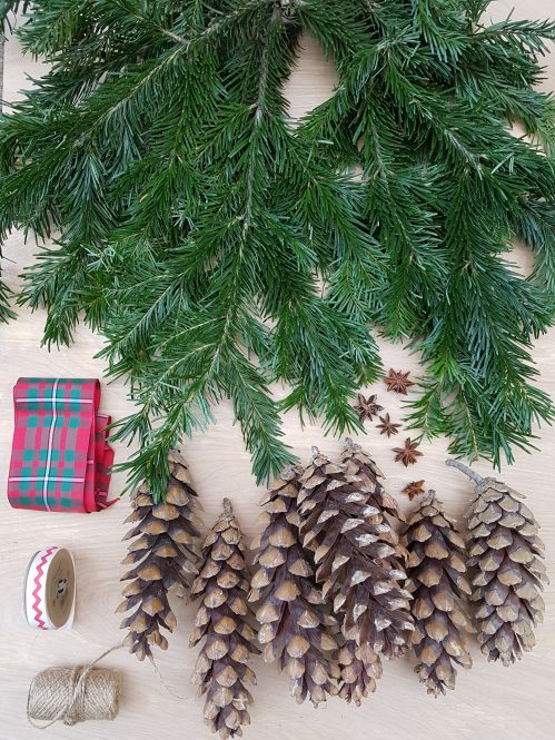 Materials required for Foraged Christmas bunch on Charis White Interiors blog