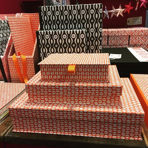 Beautify your work space with our wooden desk storage, hand covered in our pattern papers. #patternedpaper #deskdecor #handmadeinengland #screenprint #cambridgeimprint