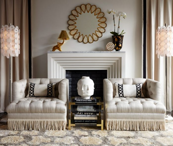 Jonathan Adler Baxter fringed armchairs/Jumbo Tassels on Charis White interiors blog