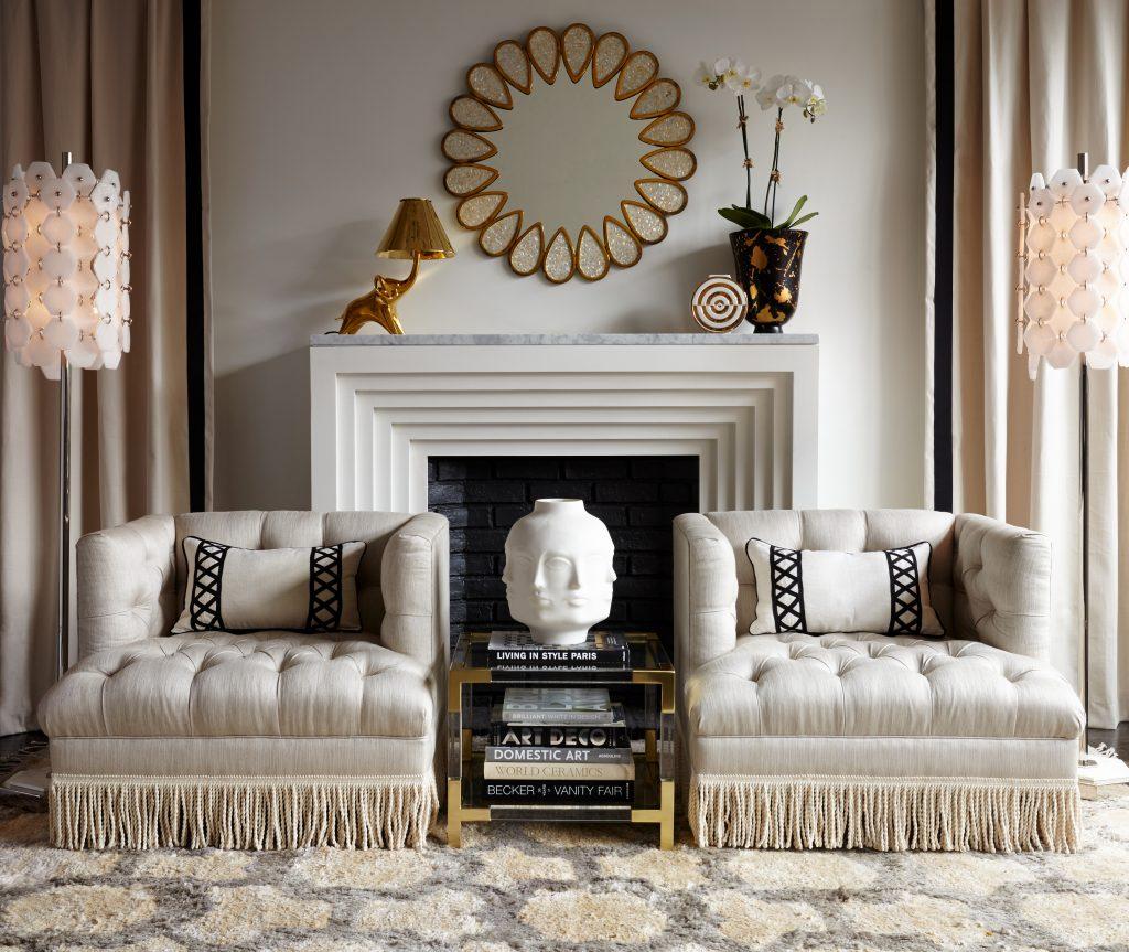 Jonathan Adler Baxter Fringed Armchairs/Jumbo Tassels On Charis White  Interiors Blog