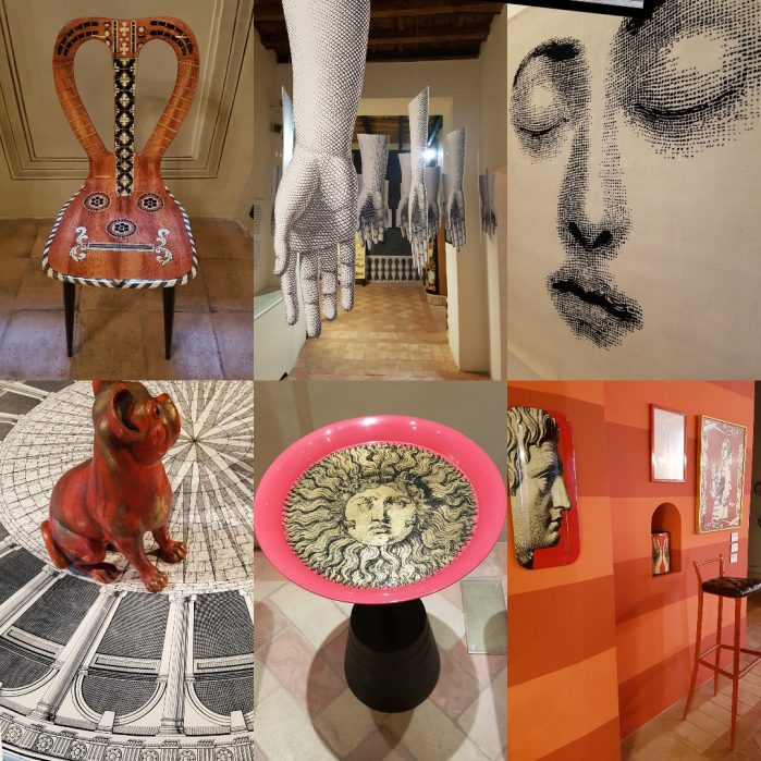 Fornasetti exhibition collage. Photos: Charis White/interiors blog