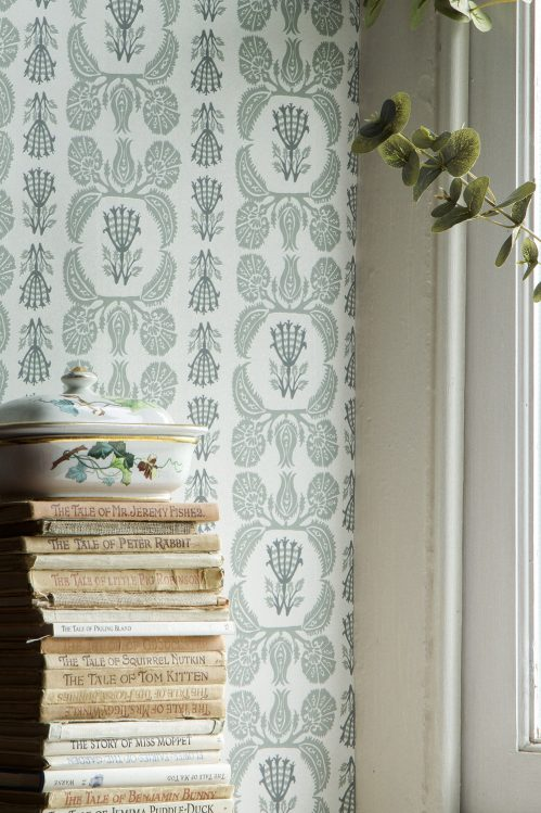 Ottoman-grey wallpaper by Charlotte Gaisford/Charis White interiors blog
