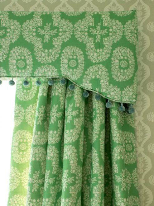 Chandolin flower green curtains with bobble pelmet by Charlotte Gaisford/Charis White interiors blog