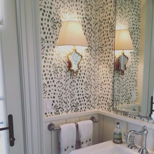 Powder room with Les Touches wallpaper by Brunschwigfils designed by Porter Design Company/Charis White Interiors blog