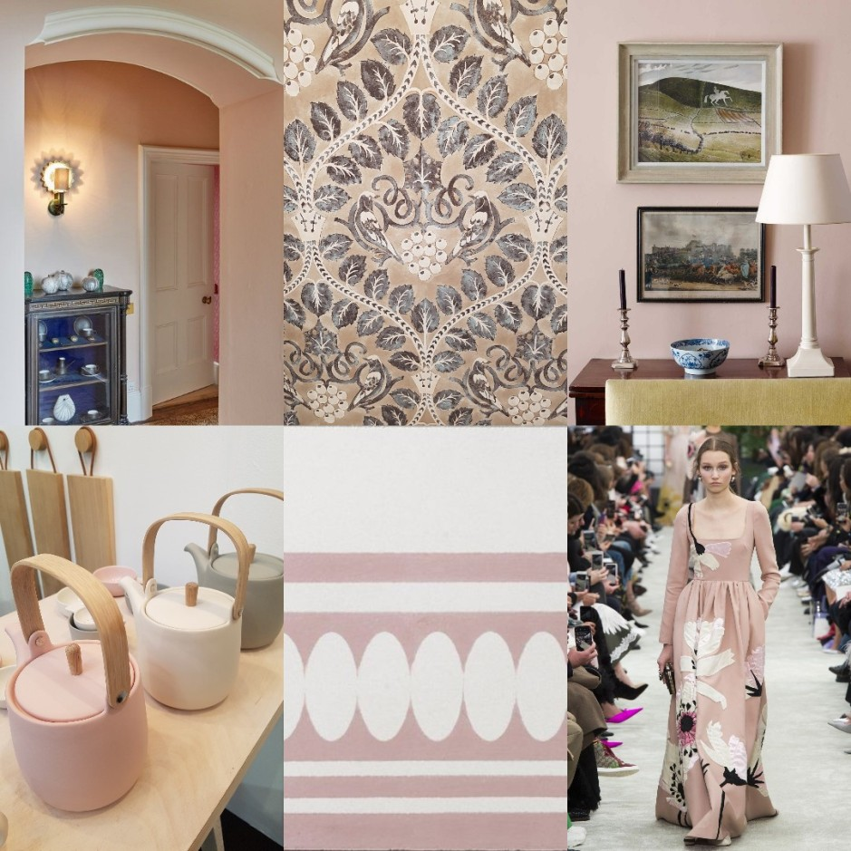 Collage including Ready to Wear AW18 Valentino image courtesy of Vogue/Pinterest; Edward Bulmer paint; Ben Pentreath pink living room; Berry Brothers wallpaper, Lewis & Wood Voysey collection; Sue Pryke teapots; Bert & May Blake border pink tile/Charis White interiors blog