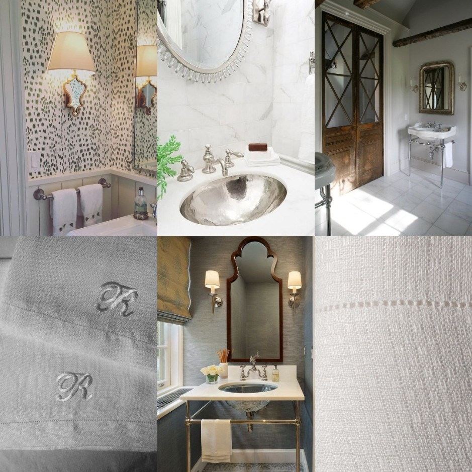 Collage bathroom by Porter Design Company; Powder Room from Home Bunch; hand towels by Francis-M.com; Charis White Interiors blog