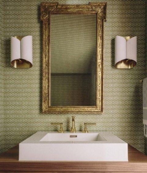 Moss Links wallpaper by Galbraith & Paul at Tissus D'Helene in powder room designed by Lauren Hasket/Charis White Interiors blog