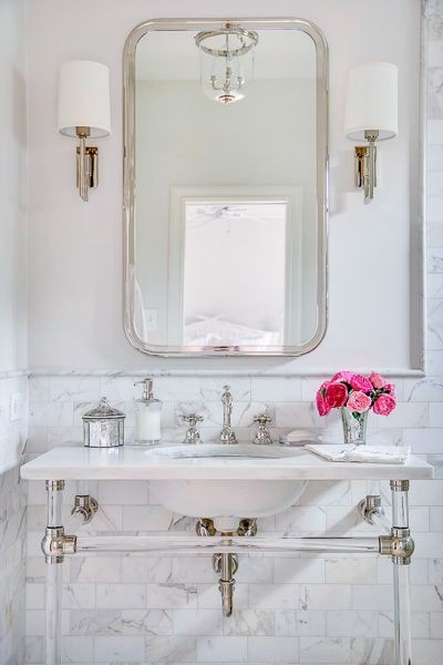 White Powder Room/Pinterest/Charis White interiors blog